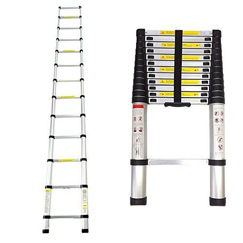 Leogreen - Escalera Telescópica, Escalera Extensible, 3,8 Metro(s), EN 131, Carga máxima: 150 kg, Distancia entre los peldaños (escalera desplegada): 30 cm