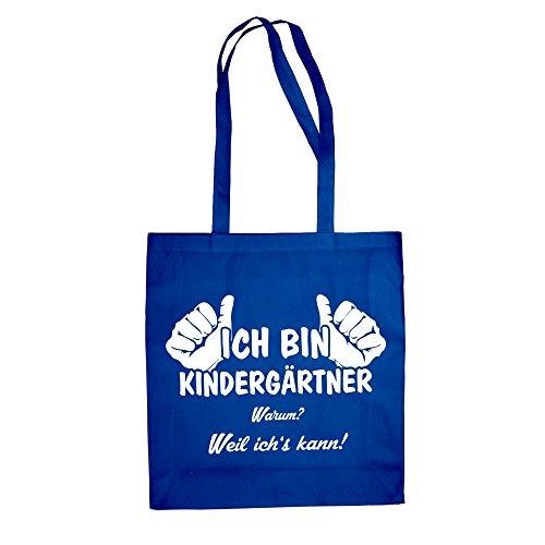 Jutebeutel - Ich bin Kindergärtner, weil ich's kann - von SHIRT DEPARTMENT schwarz-cyan
