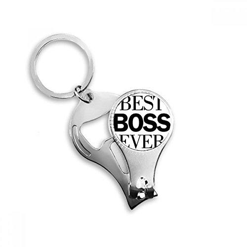 Mejor Jefe nunca cita Metal clave cadena anillo multifunción Nail Clippers abrebotellas llavero de coche mejor encanto regalo
