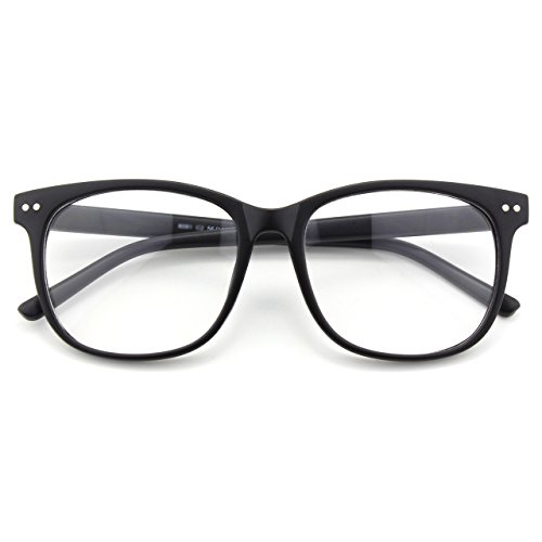CGID CN81 Damen Herren Styler klassische Nerdbrille Streberbrille Pantobrille 80er Jahre Klarglas Fashion Oversized Nerd Geek Style, Matte Schwarz, 55