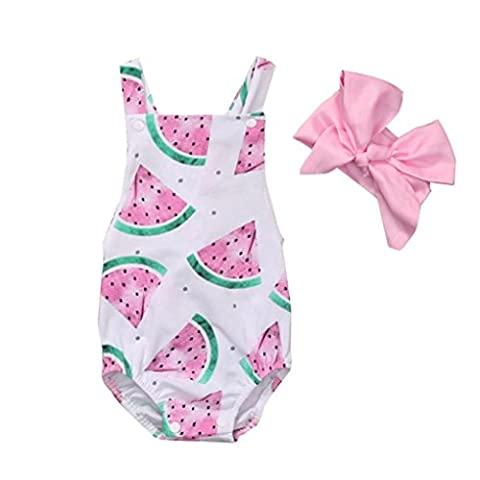 VENMO Newborn Baby Girl Watermelon Printing Bodysuit Romper Jumpsuit and Big Bow Headband Outfit Set (12-18