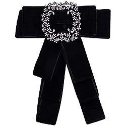 Nowbetter Broche con Lazo de Diamantes de imitación para el Cuello de la Camisa de la Marca, Negro, 16.2 * 13.2cm