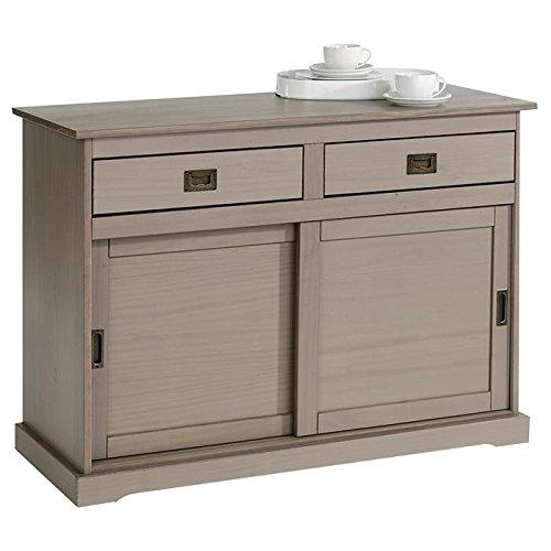 IDIMEX Buffet Savona bahut vaisselier Commode avec 2 tiroirs et 2 Portes coulissantes, en pin Massif lasuré Taupe