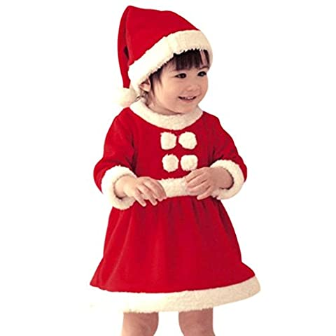 Xmas Unisex Baby Mädchen 2PCS Christmas Outfits Kleider Weihnachten Baby Dress+ Hat Rot 6-12