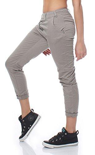 Trendige Damen Boyfriend Jeans Baggy mit seitlicher Knopfleiste, Hose im Vintage Style Cappuccino