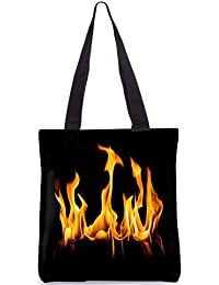 Snoogg Fire Designer Poly Canvas Fashion Printed Shopping Shoulder Lunch Tote Bag For Women
