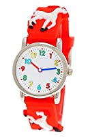 Pure Time® Children Wall Clock with 3D Horses Pony Girls Children's Silicone Rubber Band Watch Red