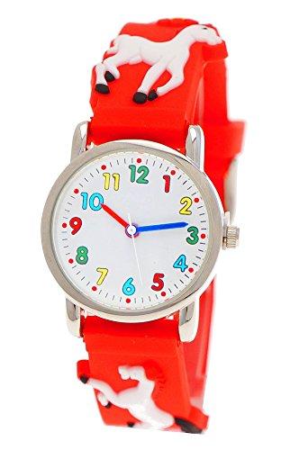 Pure Time® Kinder-Uhr Mädchen-Uhr für Kinder Silikon-Kautschuk Armband-Uhr Uhr mit 3d Pferden Pony Motiv Rot