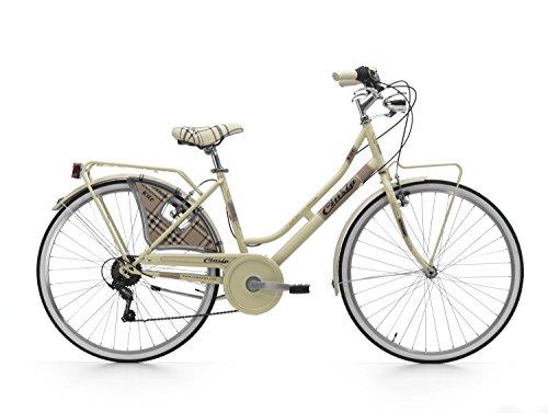 Cicli Cinzia Citybike Kilt 6/V Revo Shift V-Brake Alluminio, Bicicletta Donna, Crema, 26
