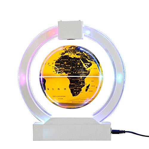 YLOVOW Coole Sachen, schwebender Globus, schwebender Globus in C-Form mit LED-Lichtern Magnetfeld-Schwebung Weltkarte-Globus Schreibtischdekoration,Gold,Sphereemitslight