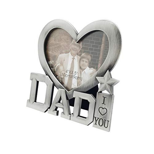 Amosfun ti amo papà photo frame festa del papà a forma di cuore cornice in metallo regali di compleanno per papà (formato cornice interna 4 * 3,5 cm)