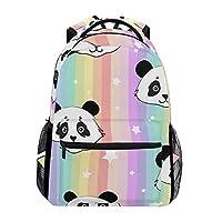 Hunihuni Rainbow Cute Panda Durable Backpack College School Book Shoulder Bag Daypack for Boys Girls Man Woman