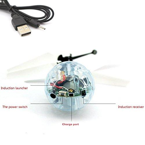 POAO RC Fliegender Ball,Mini Flugzeug-Hubschruber,Infrarot Induktionshubschrauber Ball Spielzeug (Disco Lichter) - 6