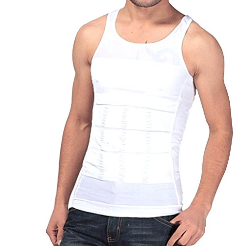 Imported Men's Shapewear Body Shaper Vest Sliming Chest Waist Belly Underwear-White M