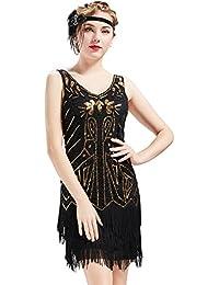 BABEYOND Robes femme Flapper V Neck des années 1920 Perles frisées Grande robe Gatsby