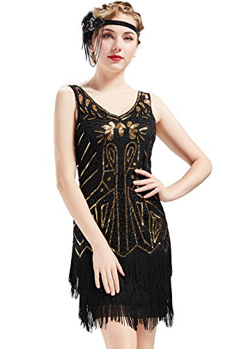 Fashion Flapper Kostüm Schwarz - BABEYOND Damen Retro 1920er Stil Flapper