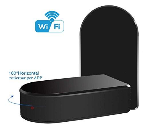 *WELTNEUHEIT* Wi-Fi Black-Box mobile Mini-WLAN-Kamera mit 180° horizontal drehbarer Linse per App aus der Ferne/ Full-HD Mini-IP-Netzwerk-Kamera mit MicroSD-Speicher bis 256 GB / Zugriff per Smartphone und Tablet / Mini-WLAN- Cam mit Bewegungserkennung. Marke: BriReTec®
