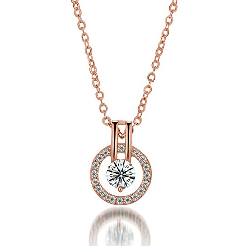 Swarovski Stunning Statement Rose Gold Fashionable Jewelry for Women Pendant Necklace for Girls Starry Pendant with Chain By DC Jewels  available at amazon for Rs.299