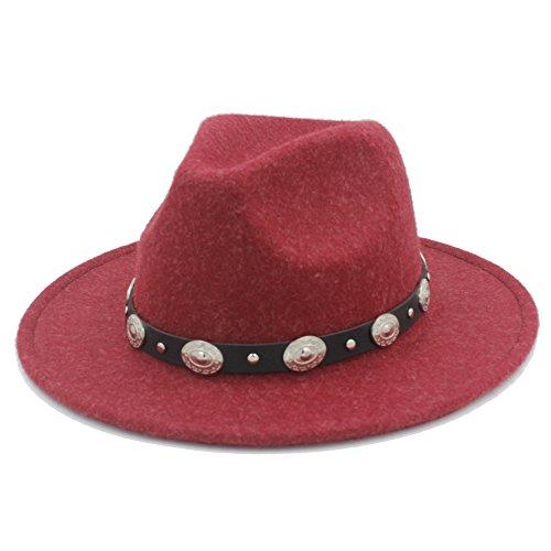 LUZIWEN Herren Damen Winter Herbst Fedora Hut mit DIY Thug Belt (Farbe : Rot, Größe : 57-58 cm)