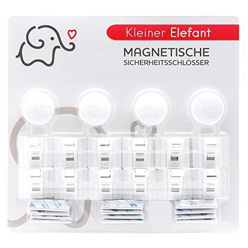 Magnetische Kindersicherung Schrank und Schublade Kleiner Elefant 12+4 Unsichtbare Schranksicherung Schubladensicherung für Babys für Küchen