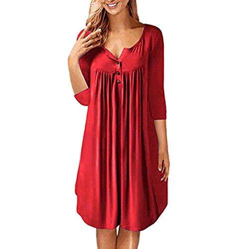 ESAILQ Damen Casual Lange Langarm Kleider mit Taschen(XL,Rot)