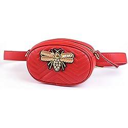 Lydia Señoras cinturón cinturón Cintura Bolsa de Mensajero Bolsa Pierna Nuevo Personalidad Salvaje Moda Mini Bolso Redondo Bolsa de Pecho Bolsa Bandolera teléfono móvil, nematodo de Oro Rojo