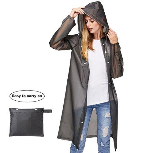 UNIQUEBELLA Transparent Regenmantel Damen Wasserdicht EVA Travel Regenbekleidung Regen Zubehör Regenjacke mit Kapuze für Wandern Radfahren Camping und Reisen Schwarz M