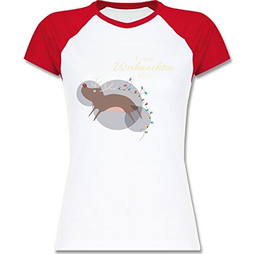 Weihnachten & Silvester - Verrückter Weihnachtselch Frohe Weihnachten - zweifarbiges Baseballshirt / Raglan T-Shirt für Damen Weiß/Rot