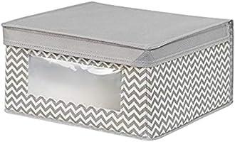 InterDesign Closet Organizer Storage Box, Grey - 6H x 11.5W x 11.5D inches