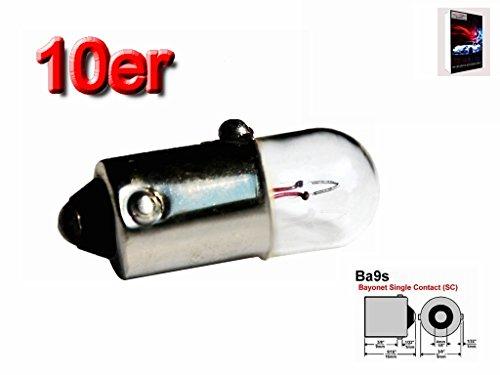 Preisvergleich Produktbild 10x colvic® von Glas freistehend der Leuchtmittel Auto BA9S 12V T2W 2W 233Side Anzahl von Schwanz des Teller Innen Licht und cz27er Marcato