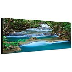 Cuadro en Lienzo como Panorama 120x 40cm Tailandia Bosque cascada Wild BACHMANN Natural