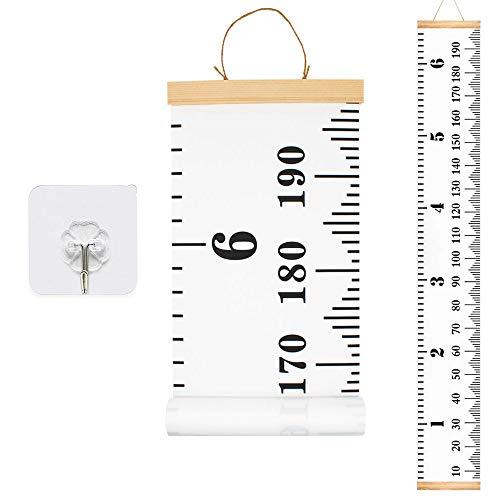 Messlatte Höhe Diagramm HUYU Messleiste Kinder Kinder Leinwand Wachstum Chart Wall Chart Wachstumsmesser, hängendes tragbares aufrollbares Baby Diagramm für Kinder im Kinderzimmer Dekor Weiß 200x20cm - Tür Wachstum Chart