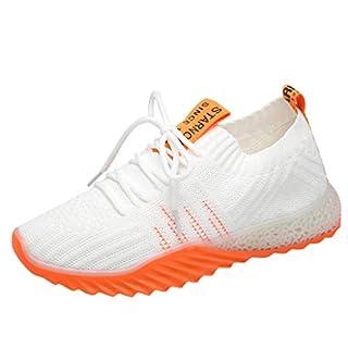Sneaker Damen Sportschuhe Socken Schuhe Outdoor Schuhe Freizeit Slip On Bequeme Freizeitschuhe Atmungsaktiv Mesh Turnschuhe Laufschuhe Schnürschuhe (EU:38.0, Weiß - C)