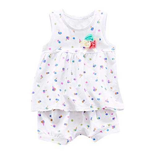 JUTOO Baby Mädchen 2 Stücke Set Kleinkind Sleeveless Ice Cream Print Weste Tops + Shorts Outfits Sets ()