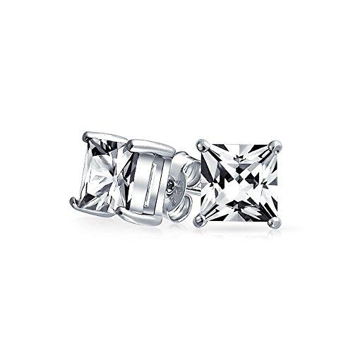 Bling Jewelry Mens Piazza CZ della principessa Cut Orecchini argento 925 7 millimetri