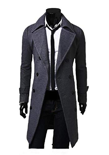 CuteRose Men's Overcoat Hipster Double-Breasted Long Parka Hoodie Jackets Dark Grey M Classic Double Breasted Trench Coat