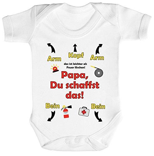 feuerwehrstrampler Geschenk zum Vatertag Feuerwehrmann Strampler Bio Baumwoll Baby Body kurzarm Jungen Mädchen Feuerwehr - Papa Du schaffst das, Größe: 3-6 Monate,White