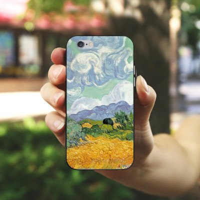Apple iPhone 6 Housse Étui Silicone Coque Protection Vincent van Gogh Champ de blé avec cyprès Art Housse en silicone noir / blanc