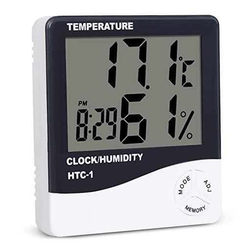 tsmonitor, digitales Indoor-Hygrometer-Thermometer mit Zeitanzeige Genaue Temperaturfeuchtigkeitsmessgerät für Home Office-Gewächshaus ()