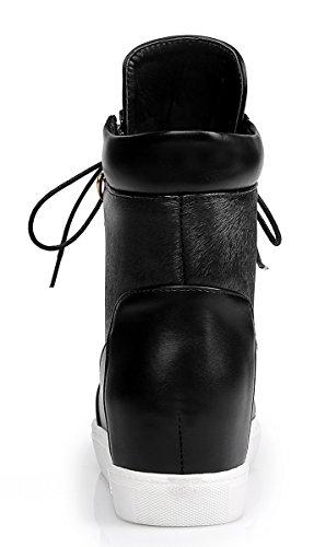 YE Damen Fashion Elegant Spitze Low Heels Plateau Stiefeletten mit Keilabsatz Schnürung Ankle Boots Schwarz