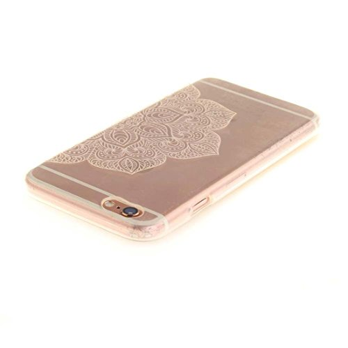 Pour Apple iPhone 6 6S 4.7 inch Coque Case de Protection Ultra Fine Transparente Flexible TPU Créatif Peinture Blanc Mandala color-12