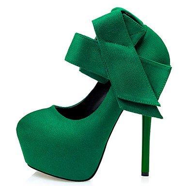 Moda Donna Sandali Sexy donna tacchi Primavera / Autunno / Inverno tacchi / Comfort / Novità / Round Toe Suede Party & Sera Stiletto Heel Bowknot Green