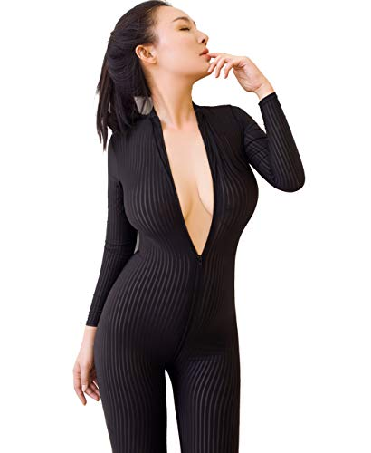 uen Sexy Bodysuit, Damen Zipper Jumpsuit Langarm Open Crotch Hoch Elastische Dessous Overalls ()