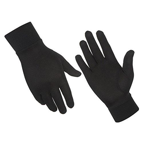 ALASKA BEAR – Warme und qualitative Seidenhandschuhe, Handschuhe aus 100% Seide, Unterziehhandschuhe, Unisex, Schwarz, in den Größen XS, S, M, L, XL& XXL