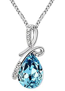 Buy shining diva fashion silver plated teardrop crystal necklace for shining diva fashion silver plated teardrop crystal necklace for women aloadofball Gallery
