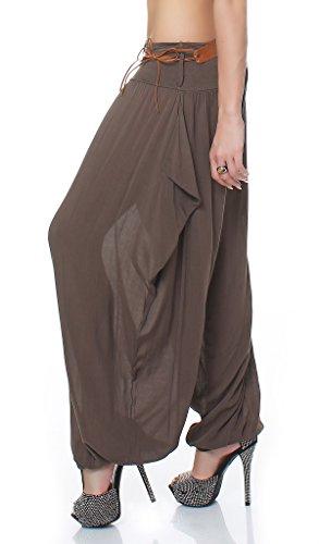 ZARMEXX Damen Haremshose Pumphose Pluderhose Aladinhose Sommerhose mit Gürtel Fledermaus-Stil One Size Braun
