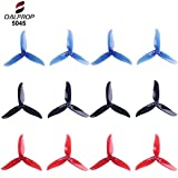 12pcs 5045 3-Blade Propeller 5 inch Tri Blade Props for 2204 2205 2206-2306 Brushless Motors FPV Racing Drone Quadcopter ( Transparent-Red,Black,Transparent-Blue)