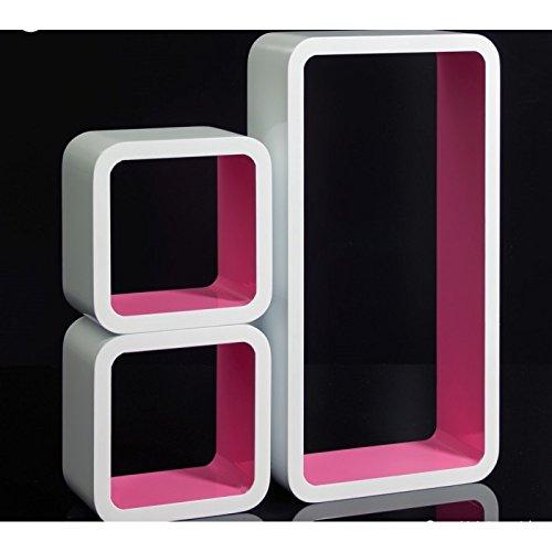 Set de 3 étagères murales cube meuble rangement blanc et rose ETA06051