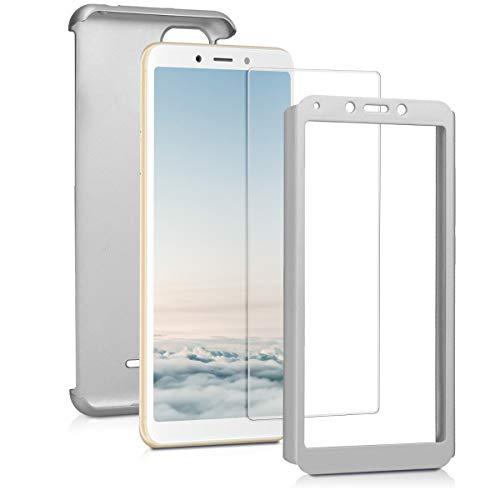 kwmobile Funda para Xiaomi Redmi 6A - Carcasa Protectora Completa con Cristal Templado - Cover con Protector de Pantalla Duro