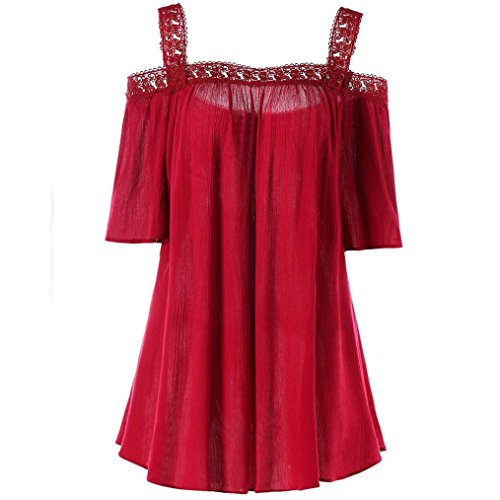 VJGOAL Damen T-Shirt, Damen Mode Kurzarm V-Ausschnitt Spitze Gedruckte Spitze Tops Sommer Lose T-Shirt Bluse (XL/44, X-Sling-Rot)
